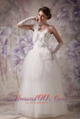 Floral One Shoulder Bridal Gowns Beading Corset Back