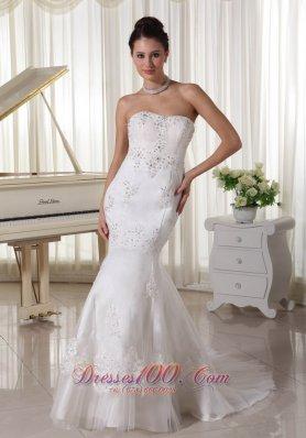 Beaded Mermaid Style Bridal Dresses Applique Sweep