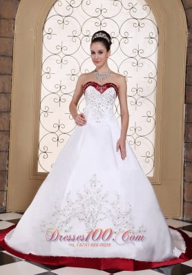 Embroidery Bridal Wedding Gown Colored Satin Chapel