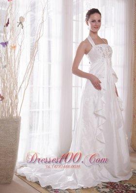 Where to Buy Elegant Halter Wedding Dress Ruffle Brush