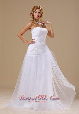 Princess Lace Bridal Dresses Ruching Appliques Brush Train
