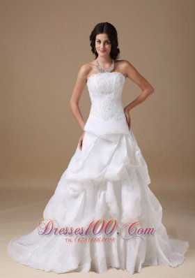 White Formal Bridal Gown Strapless Court Taffeta