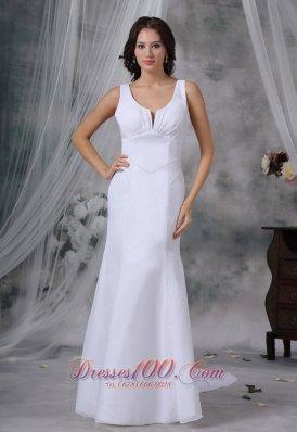 Feminine Scoop Bridal Gown Beaded Straps Watteau Train
