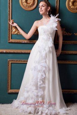 Floral One Shoulder Bridal Dresses Ruffles Brush Train