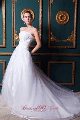 Snow White Church Wedding Dress Strapless Chapel Train