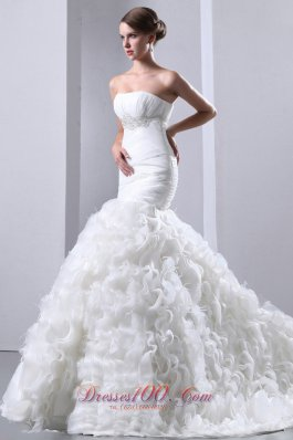 Gorgeous Mermaid Ruffles Bridal Gowns Empire Ruching