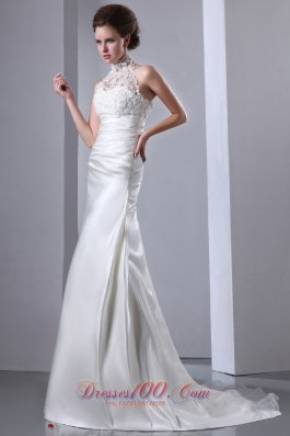 Exquisite High-neck Lace Bridal Dresses Court Train