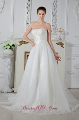 Wrapped Style Wedding Bridal Gowns Strapless Court Train
