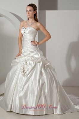 Gorgeous Ruch Beaded Wedding Gowns Sweetheart Chapel Train