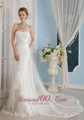 Popular Appliques Wedding Dress Strapless Chapel Belle