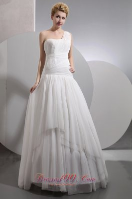 Designer One Shoulder Beach Wedding Gowns Wrapped Style