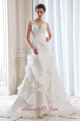 Empire V-neck Mermaid Bridal Dresses Ruffles Beading