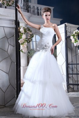 One Shoulder Mermaid Bridal Dress Crystal Tulle Tiered