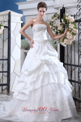 Attractive Ruffles Beading Wedding Gowns Gingle Border