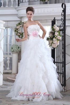 Lastest Strapless Ruffles Wedding Gowns Floral Colored
