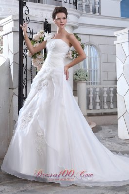 Handmade Floral One Shoulder Bridal Dress Court Wrapped