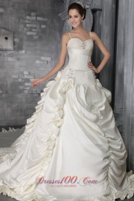 Gorgeous Church Wedding Dress Crystal Cathedral Ruffles