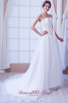 White Sash Bridal Dress Fairy Tales Style Court Train