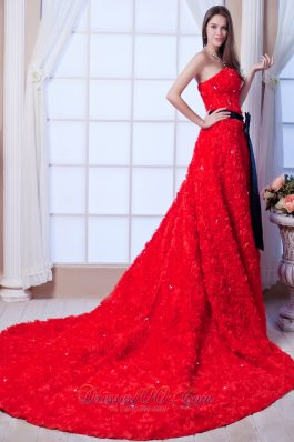 Gorgeous Red Special Rolling Flowers Wedding Dress Cathedral