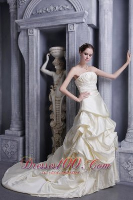 Champagne Empire Wedding Bridal Gowns Ruffles Court Train