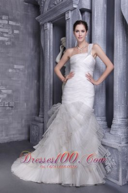 Pretty Mermaid One Shoulder Bridal Gowns Court Corset