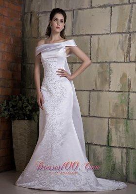 Off Shoulder Mermaid Wedding Dress Good Quality Watteau