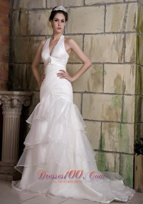 Sexy Halter Brooch Wedding Bridal Gown Tiered Ruffles Court