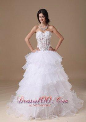 Stunning Beaded Bridal Dresses Sweetheart Organza Layered
