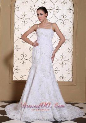 Sexy Spaghetti Straps Wedding Dress Beaded Mermaid