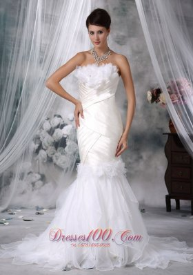 Fashionable Floral Mermaid Strapless Wedding Gowns