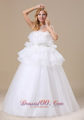 Special Appliques Decorate Bust Strapless Bridal Dresses