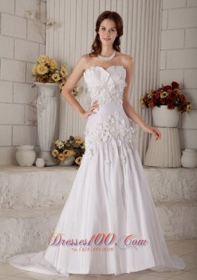 Romantic Princess Strapless Wedding Dress Floral Beaded