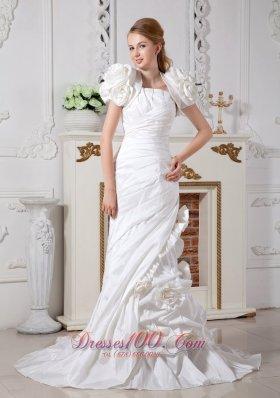 Luxurious Taffeta Hand Made Flowers Wedding Bridal Gown
