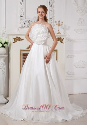 Unique Floral Strapless Wedding Dress Organza