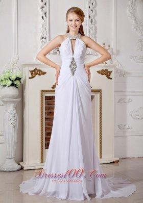 Attractive High-neck Beading Wedding Dress Chiffon