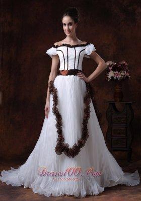 Off Shoulder Wedding Dress A-Line Organza Wedding Dress