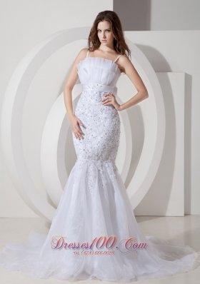 Sexy Spaghetti Straps Bridal Gown Mermaid Belt Tulle and Lace