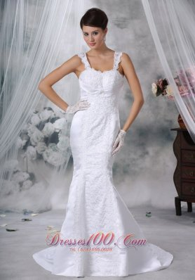 Luxurious Mermaid Wedding Gowns Straps Satin Lace Appliques