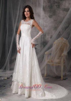 Stylish Square Princess Taffeta Lace Bridal Dress