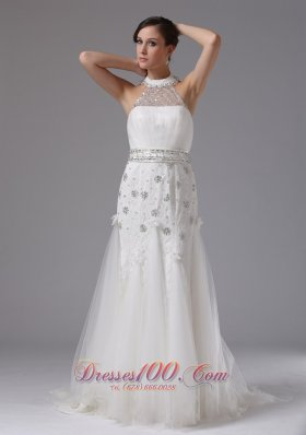 Halter Top Column Lace Beading Wedding Bridal Gown