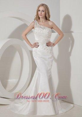 Amazing Mermaid One Shoulder Satin Lace Bridal Dress