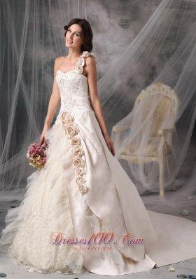 Champagne One Shoulder Satin Bridal Gowns