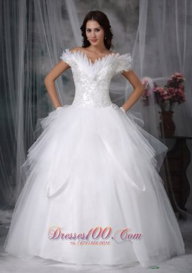 Amazing Ball Gown Off The Shoulder Tulle Wedding Gowns