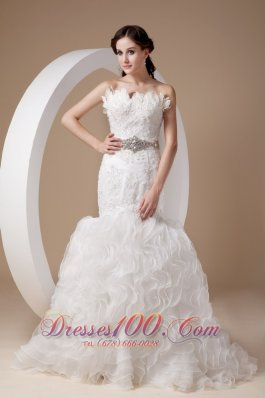 Mermaid Floral Strapless Beading and Appliques Wedding Dresses