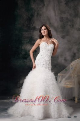 Mermaid Sweetheart Bridal Dresses Feather Beading