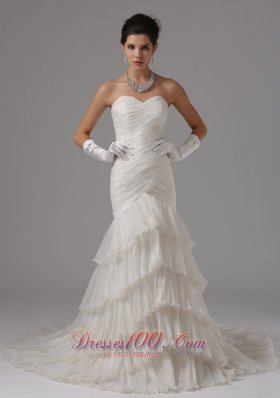 Mermaid Ruched Ruffled Layers Bridal Dresses