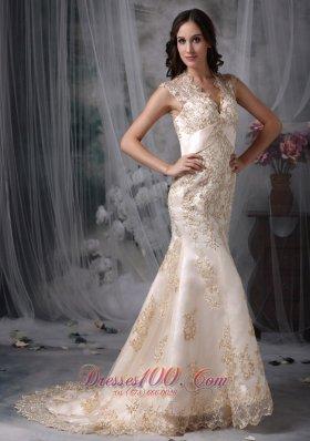 Gorgeous Mermaid V-neck Satin Lace Bridal Dresses