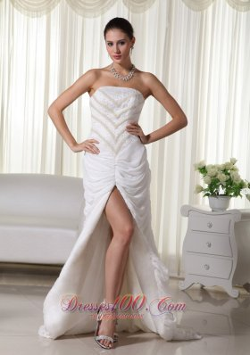 Perfect Column Strapless Chiffon Beading Bridal Dresses