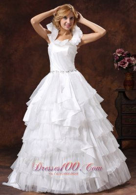 Romantic Scoop Ball Gown Ruffled Layered Bridal Dresses