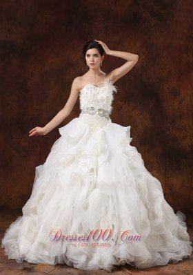 Ruffled Layers Feather Ball Gown Bridal Dresses